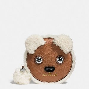 Genuine Shearling Teddy Bear change purse Coach NY